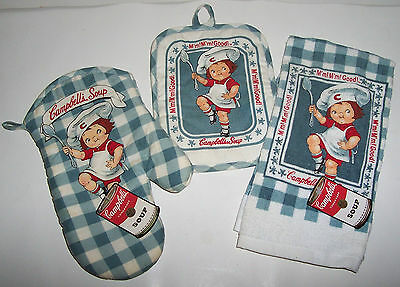 Campbell's Soup Towel Oven Mitt And Pot Holder Set