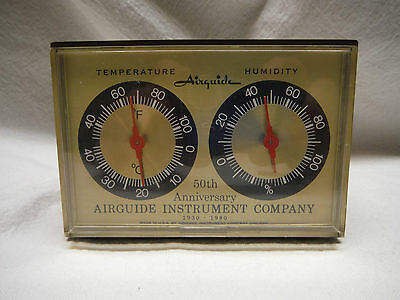Vintage Airguide 50Th Anniversary Desktop Weather Station Temperature Humidity