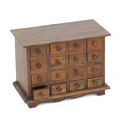 Vintage Style 16 Drawer Mahogany Wood Spice Chest