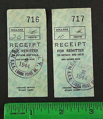 1944 USS Lunga Point Aircraft Carrier Remitter Ticket US NAVY ARGUS WW2 New York