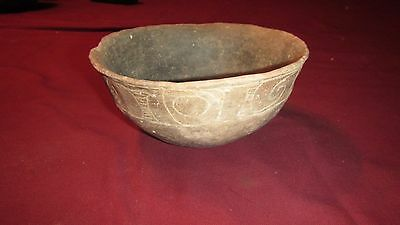 Authentic Ancient Native American Caddo Indian Pottery Taylor Engraved Bowl NETX