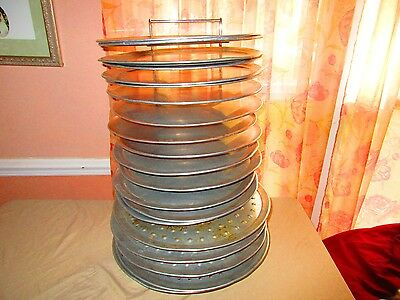 PIZZA PAN RACK 15 slots Heavy Chrome Display Storage Deep DIsh &18 pie sizes lot