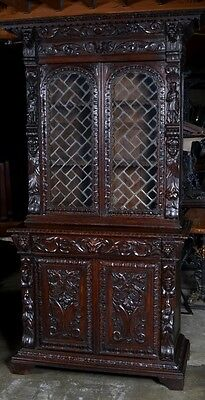 Exceptional antique carved French bookcase leaded glass cabinet china hutch 1870