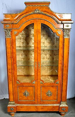 Fine antique style French Empire Bird's eye maple ormolu cabinet china hutch