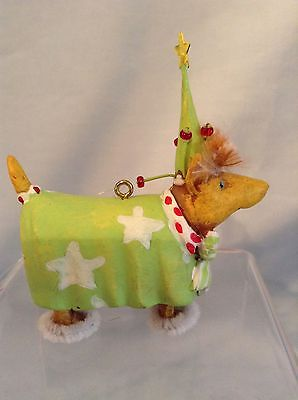 "Krinkles Dog Ornament  Green Outfit White Stars  2.5""  tag  $8.99"