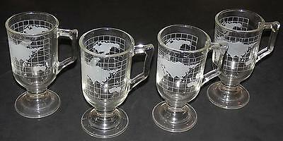 Set/4 NESTLE WORLD  GLOBE Map FOOTED Pedestal IRISH COFFEE MUGS
