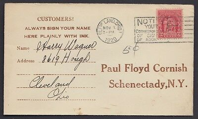 1929 Doctors Appointment card pmkd Cleveland Ohio (382 )