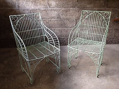 Pair gothic-style metal patio garden chairs