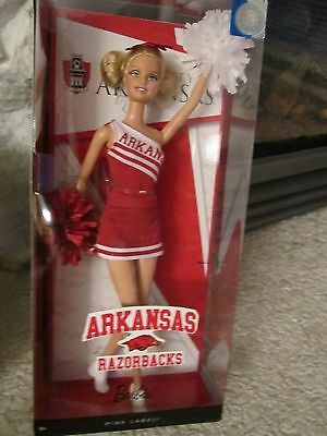 NEW Barbie Cheerleader Barbie University Arkansas Razorbacks Collector Series