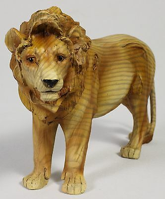 LION FAUX WOOD CARVING FIGURE Statue Art NEW Jungle Wildlife Tiger Africa Cat