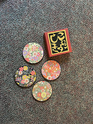 4 Japanese Coasters - Floral paper over wood. Flowers - New in Box.