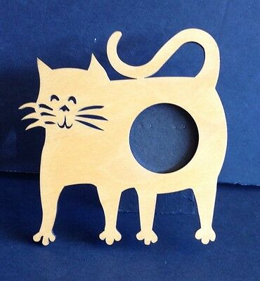 """Cat Picture Frame 4.5"""" x 4.5"""" picture Wood Meow Feline Kitty 1.5"""" Round Easel"""