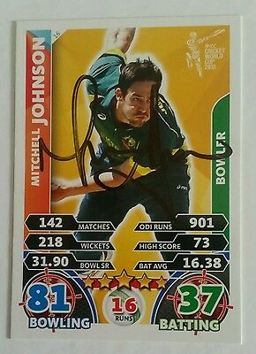 """Mitchell Johnson Cricket Signed In Person World Cup Attax Card """"buy Genuine"""""""