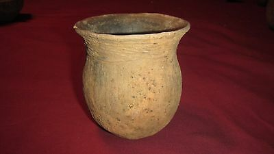 Authentic Ancient Native American Caddo Indian Pottery Small Bullard Brushed Jar