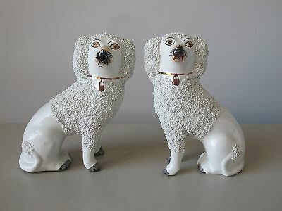 Pair of Vintage Staffordshire Dogs White Confetti Salt Coats Marked England 6""