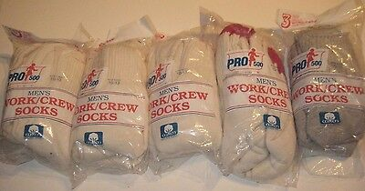 Vtg Vintage 15 pairs Mens Work Crew socks Pro 500 sz 10-13 Made in the USA