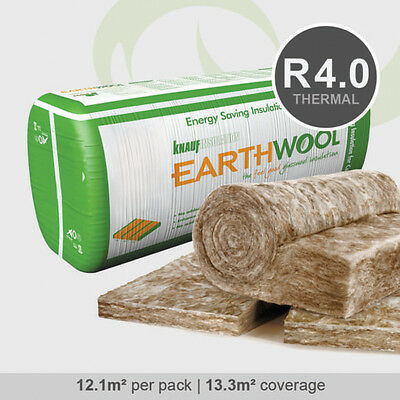 R4.0 | 580mm Knauf Earthwool Thermal Ceiling Insulation Batts (12.1m2 per pack)
