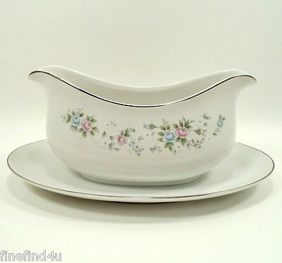 Carlton CORSAGE China 481 Japan Gravy Boat w/ Attached Underplate Ships Free