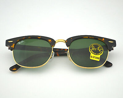 clubmaster classic tortoise  Ray Ban RB 3016 W0366 49mm Tortoise Brown/Gold Green G-15 ...
