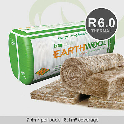 R6.0 | 580mm Knauf Earthwool Thermal Ceiling Insulation Batts (7.4m2 per pack)