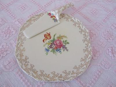 Vintage LORD NELSON Large Gilded Floral CAKE PLATE + SERVER Made England