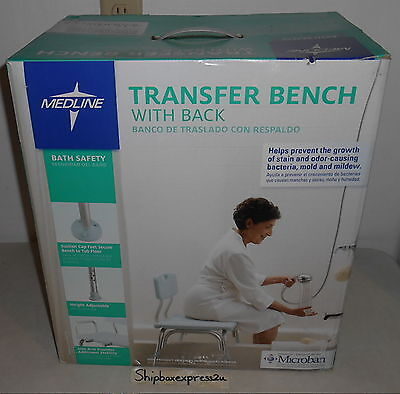 NEW MEDLINE BATH TUB SAFETY TRANSFER BENCH SEAT CHAIR with BACK