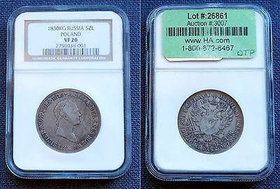 1830 Russia Poland 5 Zloty NGC VF 20 Ex Heritage Key Year!