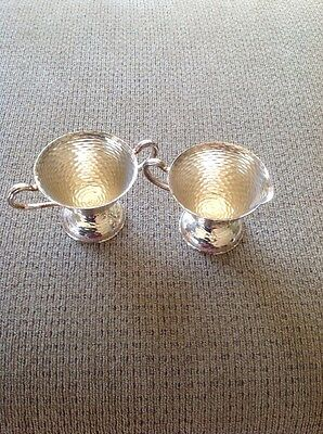 Sterling Silver Sugar and Creamer, hand-hammered, Rogers 184g Unique Vintage