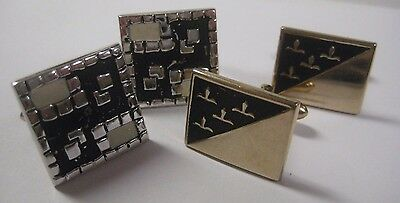 Vintage Lot of Men's SWANK Cuff Links Gold Tone & Silver Tone w/ Black SQUARE