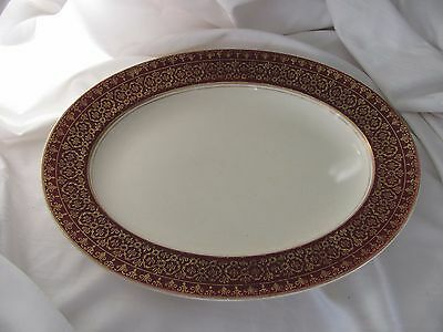 """Alfred Meakin burgundy red ivory gold lace trim small platter England 11"""""""