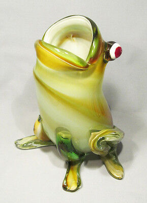 "Huge 8 1/2"" Multi-Color Art Glass Open-Mouthed Frog Vase Figurine Container"