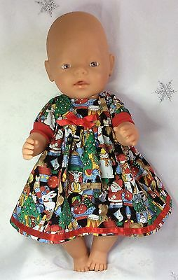 """Handmade Dolls Clothes To Fit 17""""  Baby Born - Christmas Dress And Pants"""