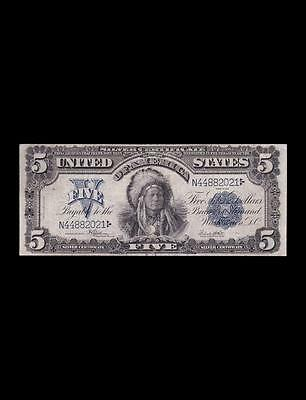 "Rare 1899 $5 Silver Certificate ""chief"" Strong Very Fine"