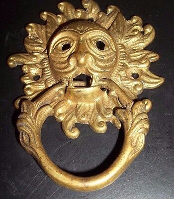 Wonderful Vintage Brass? Door Knocker with Face Mask