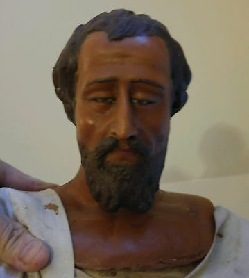 "Antique Poured Wax 30"" NATIVITY WISE MAN  c.1880's OR EARLIER.Glass eye"