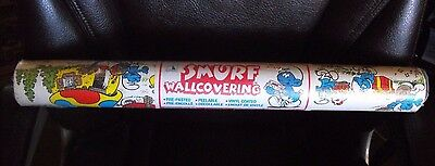 Smurf Wall Covering  ~ Wall Paper 57sqft ~ 21in x 33ft ~ New Old Stock ~Peyo '81