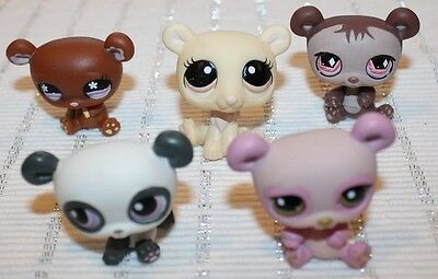 Lot Of 5 - Vintage Littlest Pet Shop Bears Lps Polar, Panda Bear