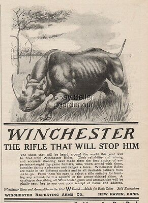 1909 Winchester Repeating Arms New Haven CT Rhino Rhinoceros hunting art ad