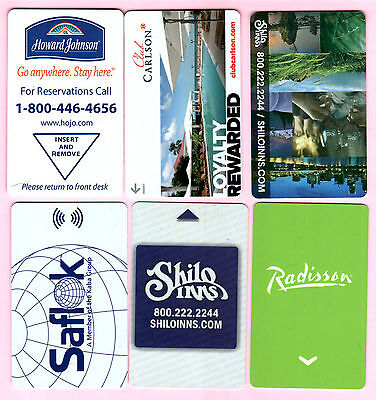 # LOT of 6 different USED  HOTEL ROOM PLASTIC KEY CARDS (USA)  #