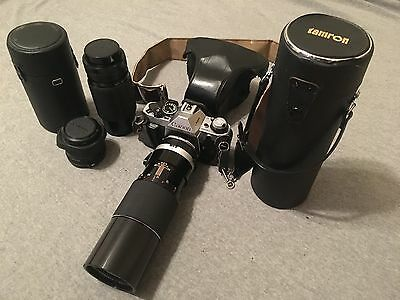 Canon AE-1 35mm Film Camera Three Lenses and Leather Carry Case Zoom Macro