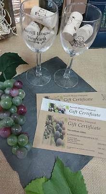 Gift Certificate with Wine Glass from Averill House Vineyard, Brookline NH 03033
