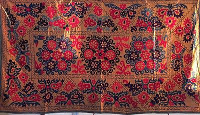 1773 Uzbek Vtg Hand Embroidered Large Suzani From Surkhandarya
