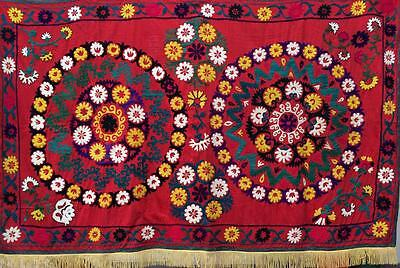 1766 Uzbek Vtg Hand Embroidered Suzani From Surkhandarya