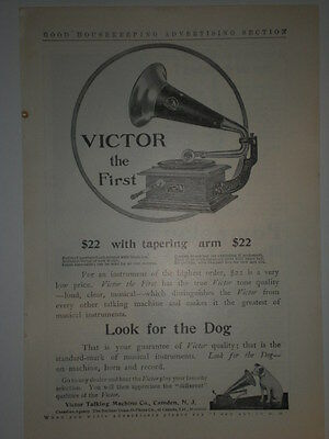 1905 VICTOR THE FIRST WITH TAPERING ARM PHONOGRAPH NIPPER print Ad xxz