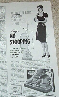 1947 vintage ad - Premier Vacuum Cleaners Cleveland Ohio magazine page PRINT AD