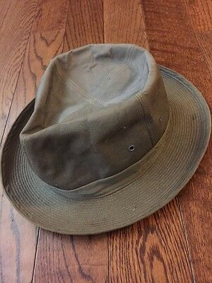 Vintage Fedora Style Canvas Hat - 7 3/8