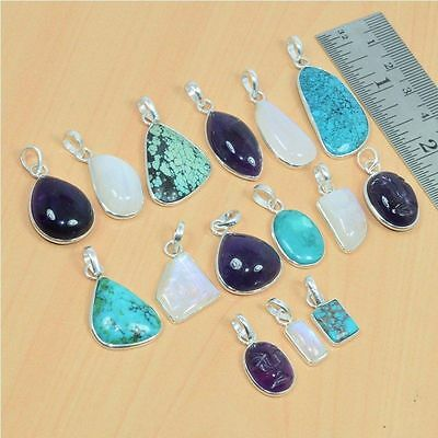 Wholesale 15Pc 925 Solid Sterling Silver Natural Turquoise Pendant Lot