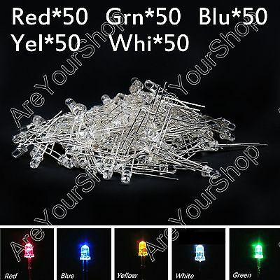 250Pcs 3mm Emitting Diode Red Yellow Blue Green White 5Color Water Clear LED Kit
