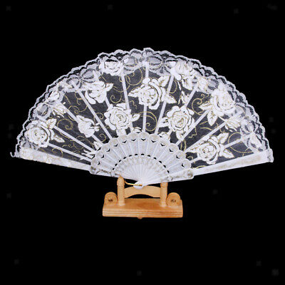 Chinese Japanese Vintage Style Foldable Lace Trim Hand Fan Rose Flowers - White