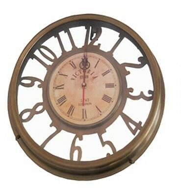Antique BRASS Victoria 1747 london wall clock replica